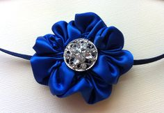 Royal Blue Satin Ribbon Flower Headband. $6.99, via Etsy.
