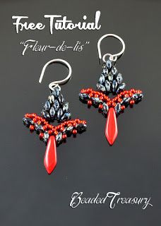 "Beaded Treasury: Free Beading Tutorial ""Fleur-de-lis"" earrings"