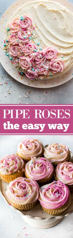 to pipe beautifully unique frosting roses the easy way!How to pipe beautifully unique frosting roses the easy way! Frosting Recipes, Cake Recipes, Dessert Recipes, Icing Recipe, Cake Frosting Tips, Piping Frosting, Cake Decorating Tutorials, Cookie Decorating, Decorating Cakes