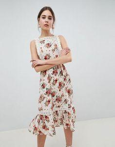 ASOS DESIGN Pinafore Midi Dress In Ditsy Print