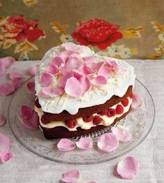 heart shape chocolate cake with cream and berries for just 2 of us Weddings or St Valentine
