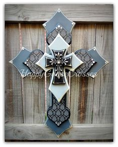 Wall Wood Cross - Large - Gray Shades, Black, with Black and Gray Damask Wooden Crosses, Crosses Decor, Wall Crosses, Cross Art, Cross Crafts, Cross Jewelry, Craft Projects, Craft Ideas, Wood Projects