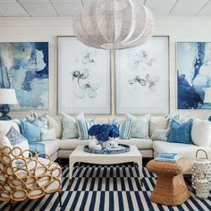 If you are looking to create an interior space that feels open and serene read on for some of our favorite blue and white rooms to inspire your look! White Interior Design, Home Interior, Interior Design Living Room, Living Room Designs, Blue Rooms, White Rooms, Living Room White, Living Rooms, Striped Room