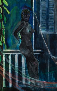 """Peter Doig, """"Night balcony painting"""", 2015. Distemper on linen, 51 x 31 1/2 inches, 130 x 80 cm."""