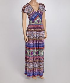 Take a look at this Plum & Navy Arabesque Maxi Dress on zulily today!