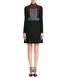 Vrigin Wool-Silk Dress with Lace  from VALENTINO