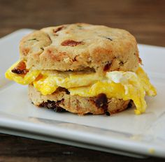bacon, sundried tomato and chive biscuit with egg