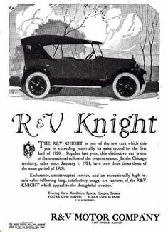 1921 R & V Knight Automobile Advertisement