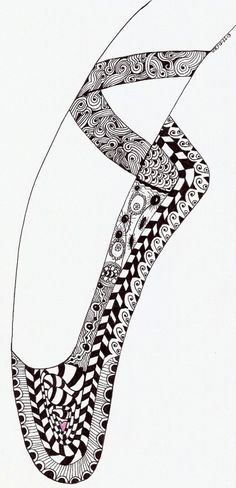 "Whimsical Zentangle® Inspired ""Ballet Shoe"" Completed 12-26-13.  A 12-pack of note cards are available for $23.00 with FREE shipping and handling.  Prints also available."