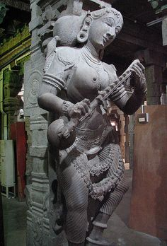 Statue of Goddess Saraswathi as seen t the Madurai Meenakshi Temple