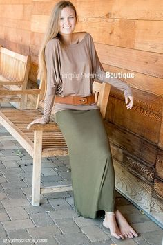 Simply Swanky Boutique - Olive Green Maxi Skirt, $29.99 (http://www.simplyswankyboutique.com/olive-green-maxi-skirt/)