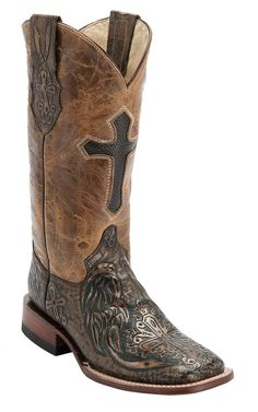 Ferrini® Ladies Brown/Copper Cross Tooled w/Cross Inlay Top Double Welt Square Toe Western Boots | Cavender's