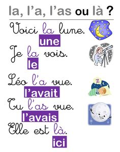 Une affiche pour les homophones la, l'a, l'as et là - Une affiche pour les homophones la, l'a, l'as et là French Language Lessons, French Language Learning, French Lessons, Teaching French, How To Speak French, Learn French, Les Homophones, Paris France, France