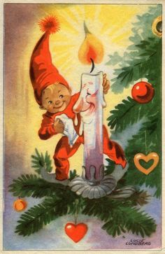 Vintage Christmas postcard, by Lucie Lundberg. Vintage Christmas Images, Retro Christmas, Vintage Holiday, Christmas Pictures, Christmas Art, Christmas Greetings, Winter Christmas, Birthday Greetings, Vintage Images