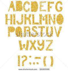 Hand  drawn Glitter Gold alphabet vector font. ABC, letters on white background. Stock vector lettering typography