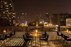 Expansive views of the New York skyline attract diners and guests to the rooftop terrace of the new Hotel Americano in Manhattan.