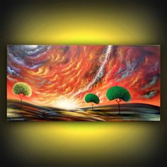 abstract lollipop tree painting fantasy original by mattsart, $450.00