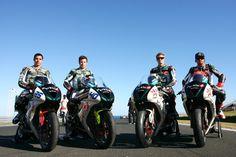 https://flic.kr/p/7FXi5m | 2010 BE1 Racing Team Riders | Round 01 WSS,  Phillip Island, Australia, February 28 2010. From left to right: David Salom 25 (ESP), Jason DiSalvo 40 (USA), Chaz  Davies 7 (UK), Sebastien Charpentier 16 (FRA)