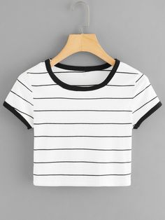 SheIn offers Round Neck Striped Crop Tee & more to fit your fashionable needs. SheIn offers Round Neck Striped Crop Tee & more to fit your fashionable needs. Girls Fashion Clothes, Teen Fashion Outfits, Girl Outfits, Teenage Outfits, Outfits For Teens, Trendy Outfits, Grunge Outfits, Jugend Mode Outfits, Belly Shirts