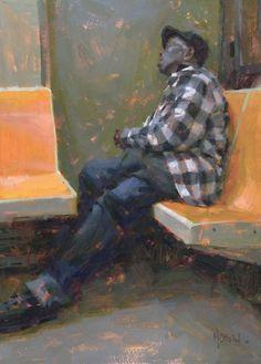 Jennifer A McChristian  'Subway Siesta'......oil on panel......14x19 inches
