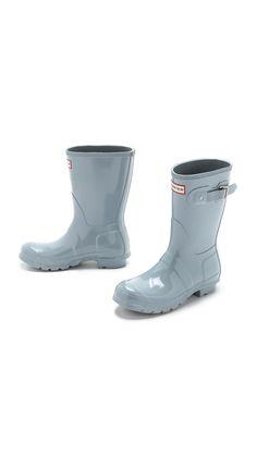 Hunter Original Short Gloss Boots - Porcelain Blue in Blue (Porcelain Blue)