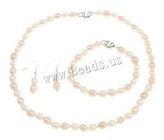 Natural Cultured Freshwater Pearl jewellry Sets ladies jewelry bracelet & earring & necklace Sterling Silver  clasp #Affiliate