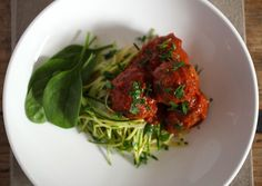 Meatballs & Zucchini Pasta. Shredded vegetables, such as zucchini and squash, make a great alternative to pasta with fewer than 25% of the calories and loads more nutritional value. Serve any of your favorite dishes - from pasta sauces to shrimp dishes - over a plateful of shredded or steamed veggies. Great for summer too!
