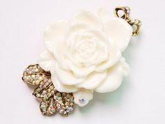 #8: Vintage Tone Elegant Cream White Resin Enamel Rose Crystal Rhinestone Pin Brooch