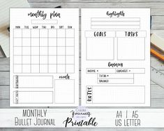 planner to buy Printable bullet journal - printable dot grid planner, bullet journal insert, monthly planner page, US Letter size planner pages Bullet Journal Dot Grid, Monthly Bullet Journal Layout, Bullet Journal Starter Kit, Bullet Journal Inserts, Creating A Bullet Journal, Bullet Journal Printables, Bullet Journal Notebook, Bullet Journal School, Bullet Journal Ideas Pages