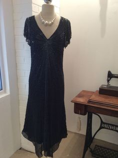 Hobbs cocktail Beaded Silk dress Great Gatzby style size 14 black Pre- Loved | eBay Ending soon   SOLD