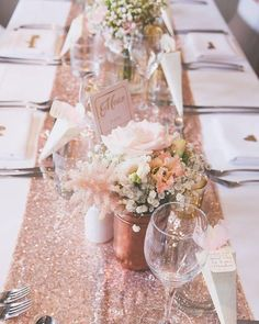 Rose Gold Sparkle Sequin Runner with floral decoration - decoration . Rose Gold Sparkle Sequin Runner with floral decoration - - Gold Wedding Theme, Gold Wedding Decorations, Rose Wedding, Wedding Table, Rose Gold Weddings, 90th Birthday Decorations, Sparkle Decorations, Christmas Decorations, Wedding Ideas