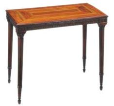 """Mahogany with inlay Wash Table by James Stuart, c.1760, one of the earliest examples of neoclassical furniture in England. The legs end in capitals modelled on those placed above the caryatids (sculpted female figures) on the Erechtheum, a temple in Athens.    Sometimes called """"Greek"""", """"Grecian"""", and """"Etruscan"""" the Neoclassical style came about due to a renewed interest in the heritage of the ancient classical civilisations of Greece and Rome"""