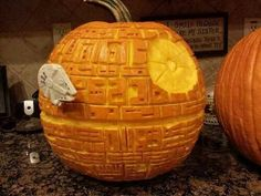 Death Star pumpkin carving