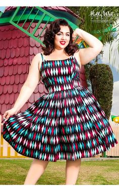 Pinup Girl Clothing- Jenny Dress in Turquoise and Black Harlequin Print - Plus Size | Pinup Girl Clothing