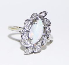 Opal and Diamond 14k White Gold Ring October by LadyLibertyGold