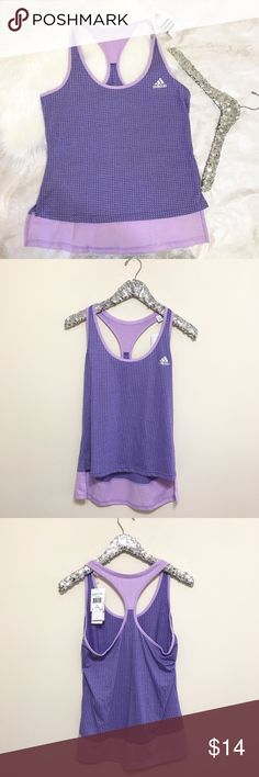 """Adidas Aero Knit Lilac Tank What's better than NWT work out tops for a fraction of the price?!? So cute. So versatile. Measures 19"""" pit to pit  22"""" long in the front and 27"""" long in back. Love offers! Adidas Tops Tank Tops"""