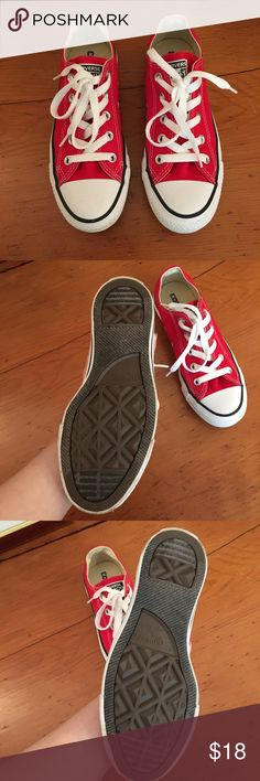 Worn once! Low top red Chuck Taylors wo 5.5 Classic red chucks! You can wear them with anything and look so cute. Timeless item to have in your closet. Size 5.5 in womens. Worn once. Shoes Sneakers