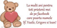 La multi ani pentru toti prietenii mei de pe facebook care poarta numele Sf. Vasile, Grigore si Ioan! Happy Birthday Wishes, Winnie The Pooh, Disney Characters, Fictional Characters, Teddy Bear, Facebook, Sf, 8 Noiembrie, Martie