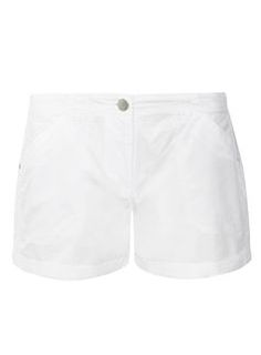White Crochet Side Trim Shorts