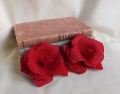 Red Burlap Flower for Wedding or Home Decor