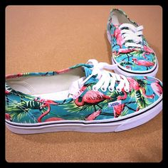 "Vans ""Van Doren Flamingo"" Size 9 in men's and 10.5 in women. Very cute shoes! Never Been Worn! Stickers still inside. BRAND NEW. NO LOW BALL OFFERS WILL BE ACCEPTED. NO TRADES. OFFERS WILL BE COUNTER OFFERED WITH MY LOWEST UNLESS YOUR OFFER IS REASONABLE. Thanks (Bought these at Urban Outfitters) Vans Shoes Flats & Loafers"