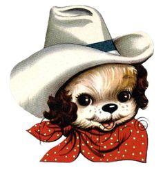 full color strijkapplicatie vintage cowboy doggie