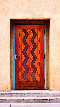 Santa Fe, New Mexico Grand Entrance, Entrance Doors, Doorway, Cool Doors, Unique Doors, Southwest Art, Southwest Style, Santa Fe Style, Land Of Enchantment