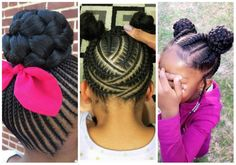Black #Cosmopolitan 29 Braided Cornrows With Buns For Little Black Girls #AFRICANAMERICANHAIR, #AFROTEXTUREDHAIR, #CULTURE, #Fads, #FASHION, #HAIR, #HAIRSTYLES, #NaturalHairMovement Check out these braided cornrows with buns for little black girls and get inspiration on how to style your baby girl's hair for a fresh look. Bunny hairstyles are always cute on kids and there are so many ways to style it. You can style it with their natural hair without braiding it.