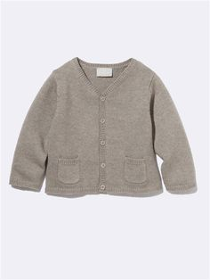 Taupe baby cardigan Wool/Cotton 28 euro