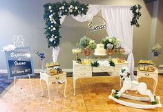 Gorgeous dessert buffet we designed and styled for a Baptism.