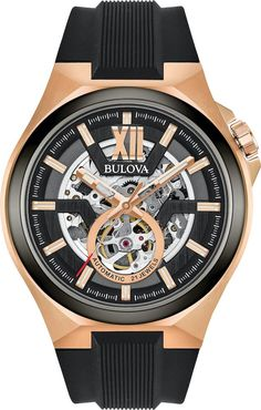 Bulova Watch Maquina Mens #add-content #allow-discount-yes #basel-20 #bezel-fixed #bracelet-strap-rubber #brand-bulova #case-depth-13-2mm #case-material-rose-gold-pvd #case-width-46mm #delivery-timescale-call-us #dial-colour-black #fashion #gender-mens #movement-automatic #new-product-yes #official-stockist-for-bulova-watches #packaging-bulova-watch-packaging #sale-item-no #style-dress #subcat-maquina #supp Sport Watches, Cool Watches, Stylish Watches, Wrist Watches, Male Watches, Best Skeleton Watches, Bulova Watches, Automatic Watches For Men, Silicone Bracelets