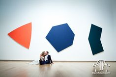 Bride and Groom in front of art at The Modern Art Museum. Photography by Tracy Autem Photography. http://tracyautem.com