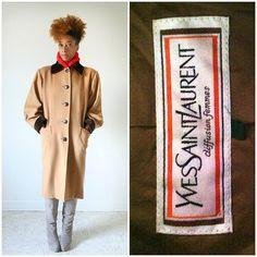 vintage 80s YVES saint LAURENT camel velvet collar coat size L/XL by PasseNouveauVintage, $89.00