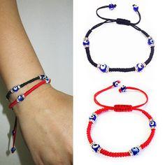 2 Kabbbalah Macrame Red Black Bracelet Evil Eye Bead Blue Hamsa Luck Charm Hand